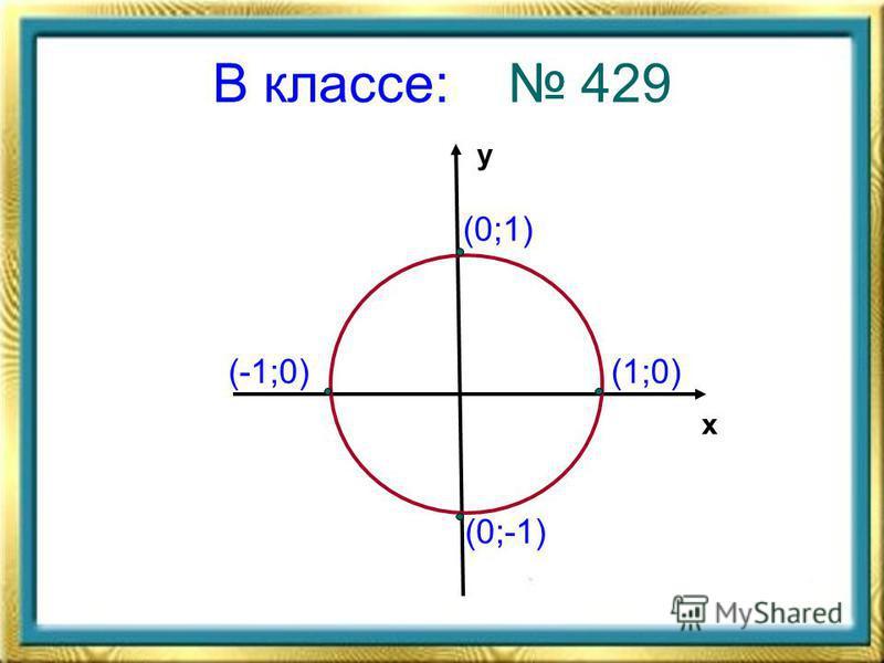 В классе: 429 х у (1;0) (0;1) (-1;0) (0;-1)