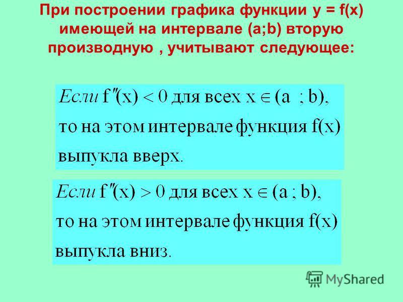 При построении графика функции у = f(x) имеющей на интервале (а;b) вторую производную, учитывают следующее: