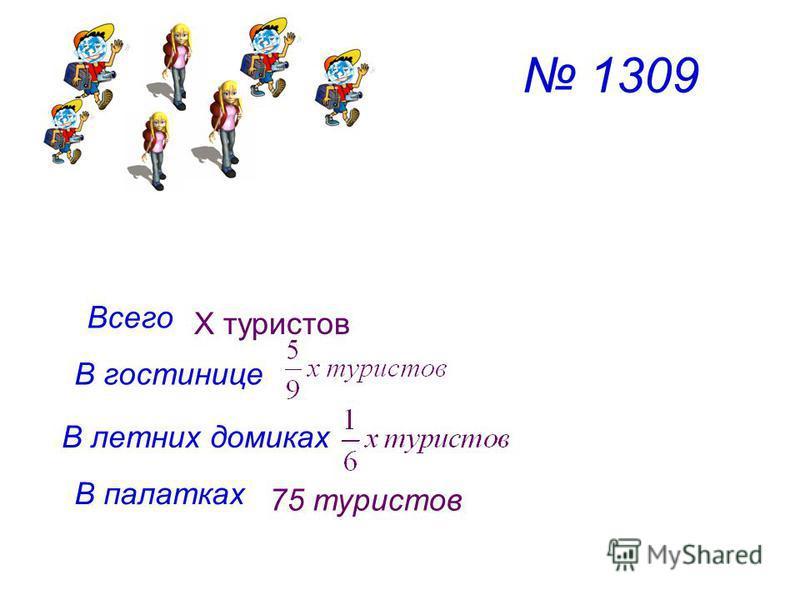 1309 Всего В гостинице В летних домиках В палатках Х туристов 75 туристов