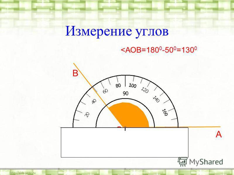 Измерение углов О А В <АОВ=180 0 -50 0 =130 0