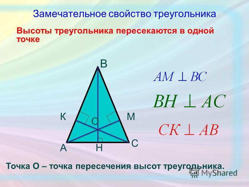 Замечательное свойство треугольника Высоты треугольника пересекаются в одной точке О А В С Н МК Точка О – точка пересечения высот треугольника.