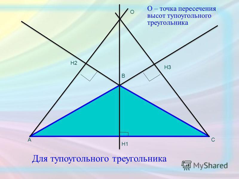 Для тупоугольного треугольника О А В С Н3 Н1 Н2 О – точка пересечения высот тупоугольного треугольника
