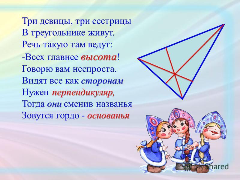 Три девицы, три сестрицы В треугольнике живут. Речь такую там ведут: высота -Всех главнее высота ! Говорю вам неспроста. сторонам Видят все как сторонам перпендикуляр, Нужен перпендикуляр, они Тогда они сменив названья основанья Зовутся гордо - основ