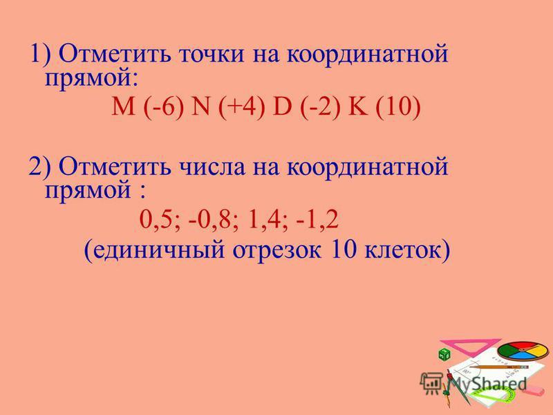 1) Отметить точки на координатной прямой: M (-6) N (+4) D (-2) K (10) 2) Отметить числа на координатной прямой : 0,5; -0,8; 1,4; -1,2 (единичный отрезок 10 клеток)