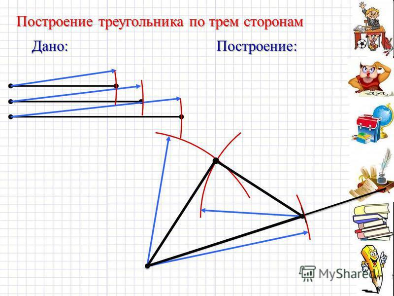 Дано:Построение: Построение треугольника по трем сторонам