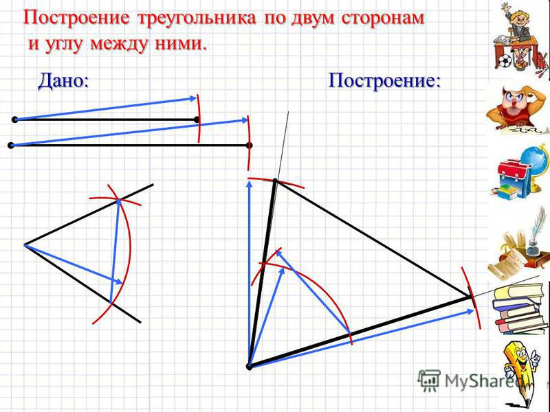 Дано:Построение: Построение треугольника по двум сторонам и углу между ними. и углу между ними.