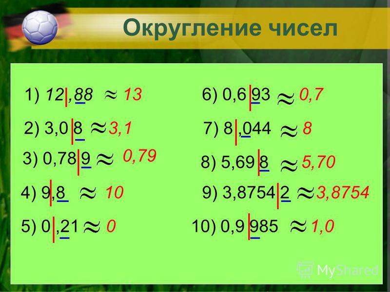 Если число округляют до какого-нибудь разряда, то все следующие за этим разрядом цифры заменяют нулями, а если они стоят после запятой, то их отбрасывают. Если первая отброшенная цифра равна 5,6,7,8,9 то стоящую перед ней цифру увеличивают на 1. Если