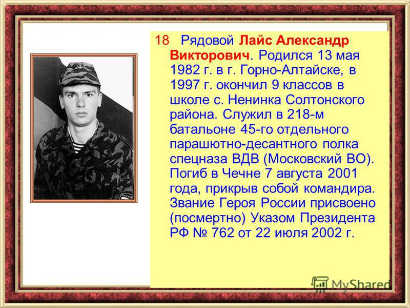 18 Рядовой Лайс Александр Викторович. Родился 13 мая 1982 г. в г. Горно-Алтайске, в 1997 г. окончил 9 классов в школе с. Ненинка Солтонского района. Служил в 218-м батальоне 45-го отдельного парашютно-десантного полка спецназа ВДВ (Московский ВО). По