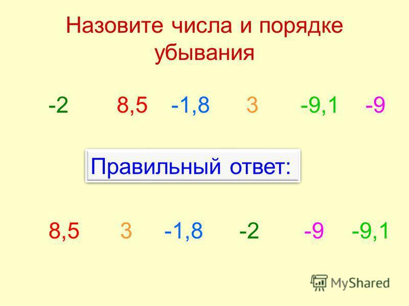 Назовите числа и порядке убывания -2-1,88,53-9,1-9 -2-1,88,53-9,1-9 Правильный ответ: