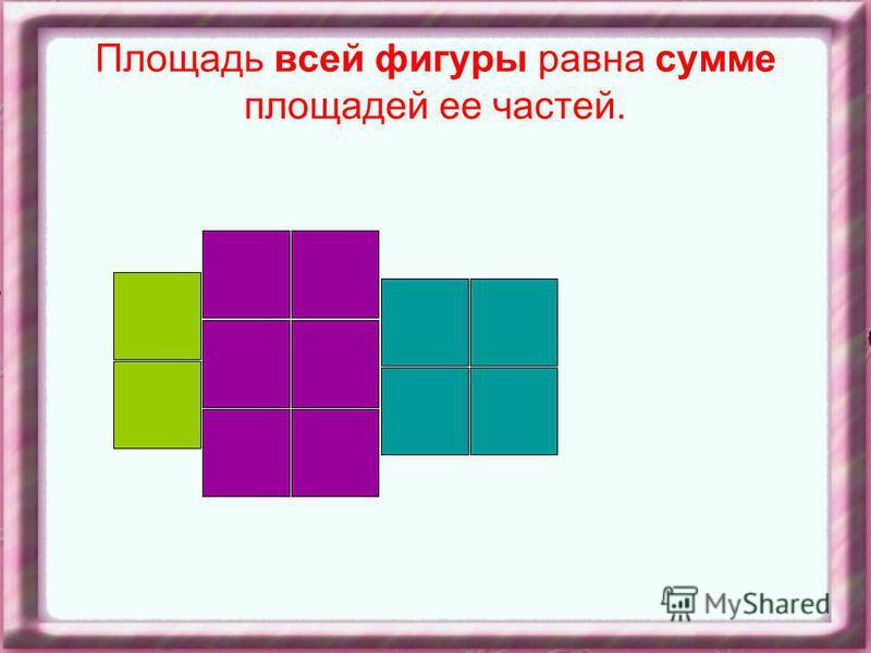 Площадь всей фигуры равна сумме площадей ее частей.