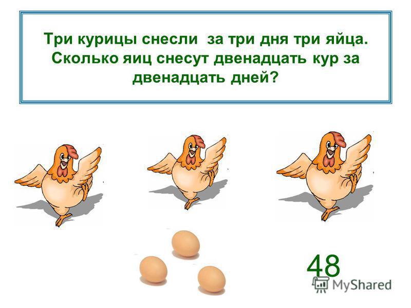 Три курицы снесли за три дня три яйца. Сколько яиц снесут двенадцать кур за двенадцать дней? 48