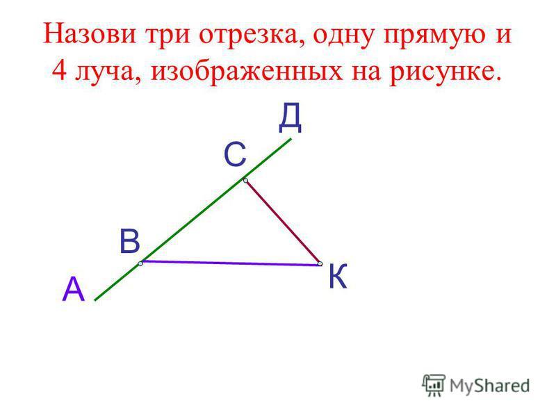 Назови три отрезка, одну прямую и 4 луча, изображенных на рисунке. А В С Д К