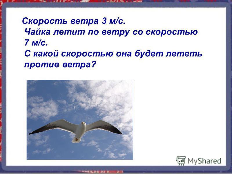 Скорость ветра 3 м/с. Чайка летит по ветру со скоростью 7 м/с. С какой скоростью она будет лететь против ветра?