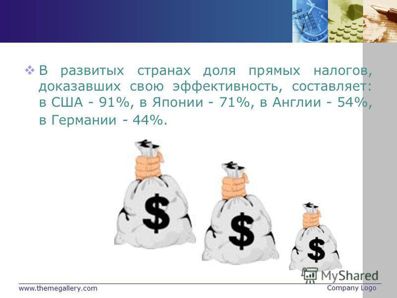 www.themegallery.com Company Logo В развитых странах доля прямых налогов, доказавших свою эффективность, составляет: в США - 91%, в Японии - 71%, в Англии - 54%, в Германии - 44%.