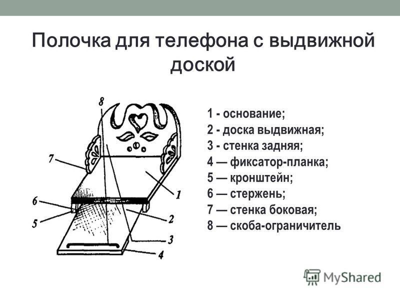 Полочка для телефона с выдвижной доской 1 - основание; 2 - доска выдвижная; 3 - стенка задняя; 4 фиксатор-планка; 5 кронштейн; 6 стержень; 7 стенка боковая; 8 скоба-ограничитель