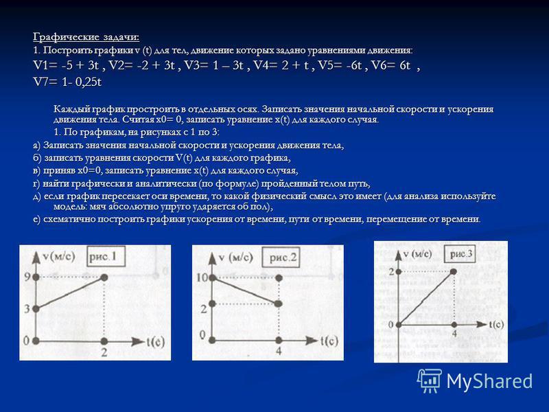 Графические задачи: 1. Построить графики v (t) для тел, движение которых задано уравнениями движения: V1= -5 + 3t, V2= -2 + 3t, V3= 1 – 3t, V4= 2 + t, V5= -6t, V6= 6t, V7= 1- 0,25t Каждый график простроить в отдельных осях. Записать значения начально