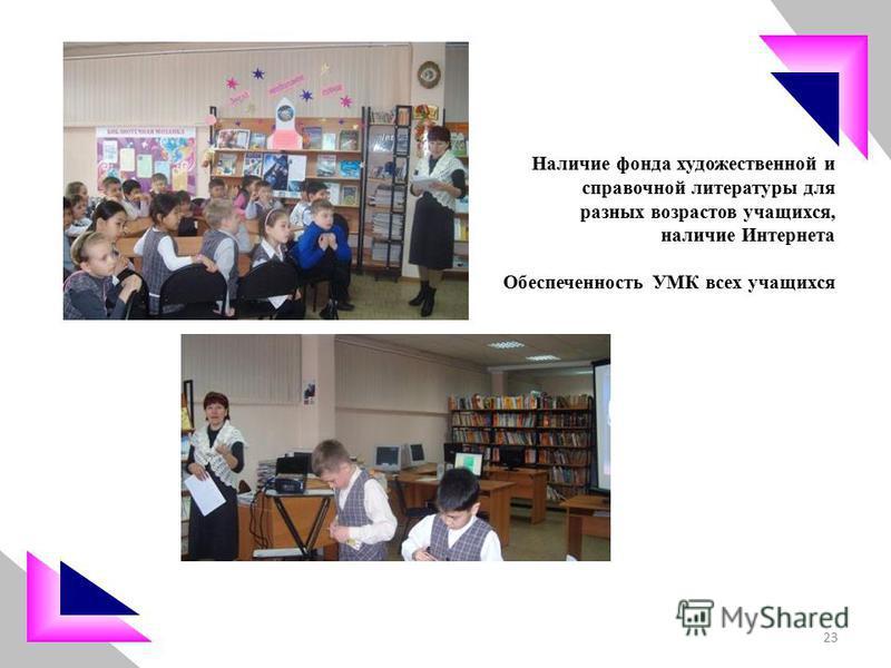 Наличие фонда художественной и справочной литературы для разных возрастов учащихся, наличие Интернета Обеспеченность УМК всех учащихся 23