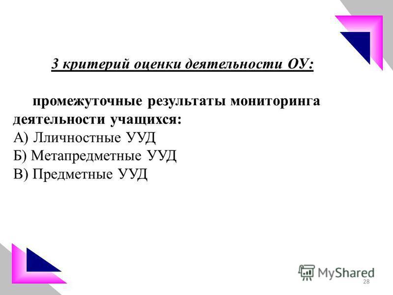 3 критерий оценки деятельности ОУ: промежуточные результаты мониторинга деятельности учащихся: А) Лличностные УУД Б) Метапредметные УУД В) Предметные УУД 28