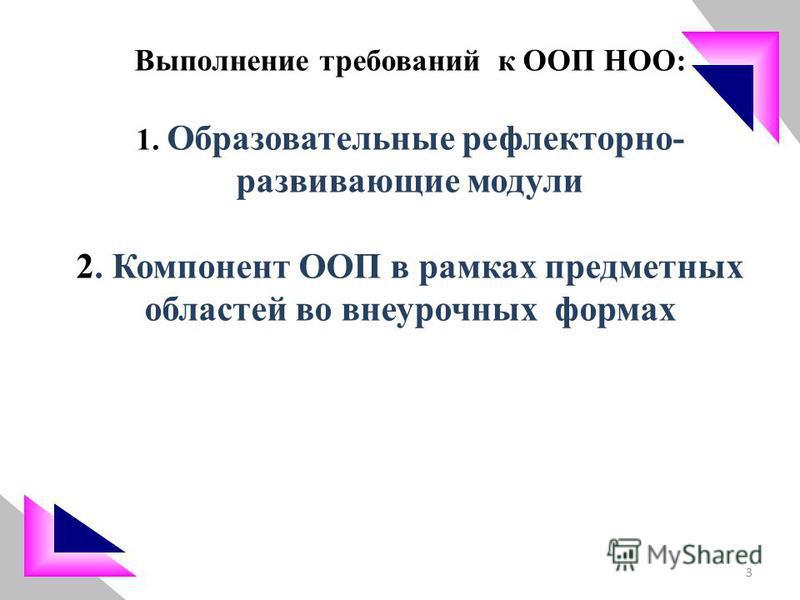 Выполнение требований к ООП НОО: 1. Образовательные рефлекторно- развивающие модули 2. Компонент ООП в рамках предметных областей во внеурочных формах 3