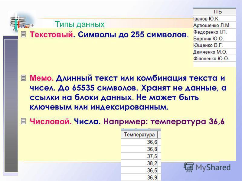 Типы данных 3Текстовый. Символы до 255 символов. Мемо. Длинный текст или комбинация текста и чисел. До 65535 символов. Хранят не данные, а ссылки на блоки данных. Не может быть ключевым или индексированным. Числовой. Числа. Например: температура 36,6