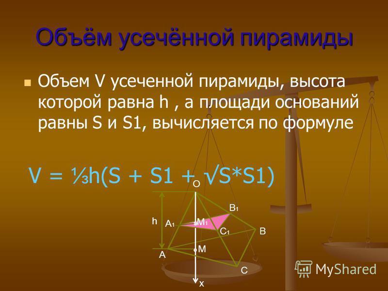 Объём усачённой пирамиды Объем V усаченной пирамиды, высота которой равна h, а площади оснований равны S и S1, вычисляется по формуле V = h(S + S1 + S*S1) h M x A1A1 C1C1 C M1M1 A B1B1 B O