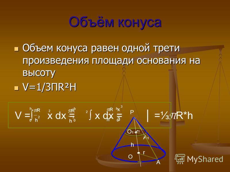 Объём конуса Объем конуса равен одной трети произведения площади основания на высоту Объем конуса равен одной трети произведения площади основания на высоту V=1/3ПR²H V=1/3ПR²H V = x dx = x dx = = П R*h h h h 0 0 0 П R h П R h П R h x 3 22 2 3 2 2 O1