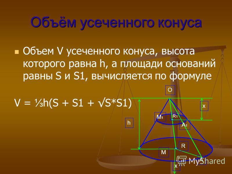 Объём усаченного конуса Объем V усаченного конуса, высота которого равна h, а площади оснований равны S и S1, вычисляется по формуле V = h(S + S1 + S*S1) M1M1 O h x x R M A A1A1 R1R1