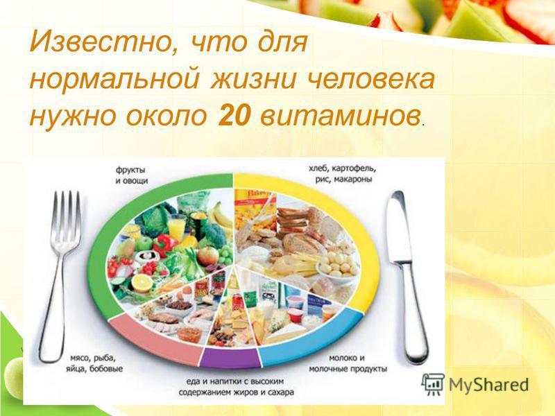 Известно, что для нормальной жизни человека нужно около 20 витаминов.