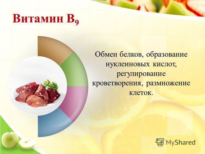 Витамин B 9 Обмен белков, образование нуклеиновых кислот, регулирование кроветворения, размножение клеток.
