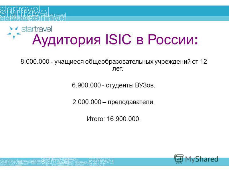 Аудитория ISIC в России: 8.000.000 - учащиеся общеобразовательных учреждений от 12 лет. 6.900.000 - студенты ВУЗов. 2.000.000 – преподаватели. Итого: 16.900.000.