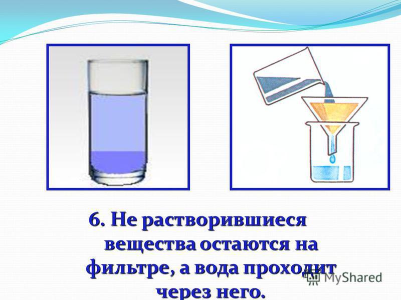 6. Не растворившиеся вещества остаются на фильтре, а вода проходит через него.