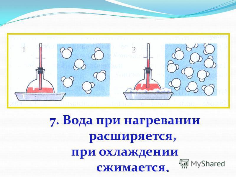 7. Вода при нагревании расширяется,. при охлаждении сжимается.