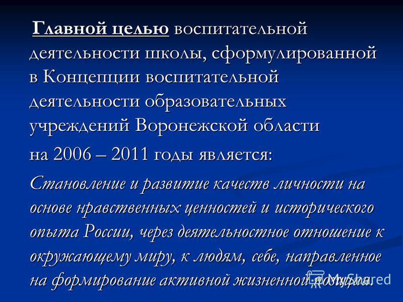 Главной целью воспитательной деятельности школы, сформулированной в Концепции воспитательной деятельности образовательных учреждений Воронежской области Главной целью воспитательной деятельности школы, сформулированной в Концепции воспитательной деят