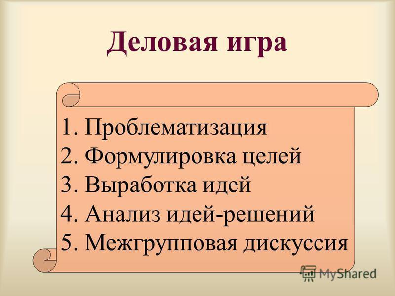 Деловая игра 1. Проблематизация 2. Формулировка целей 3. Выработка идей 4. Анализ идей-решений 5. Межгрупповая дискуссия