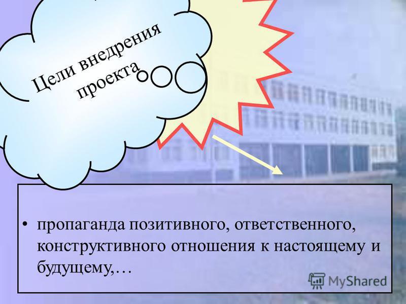 пропаганда позитивного, ответственного, конструктивного отношения к настоящему и будущему,… Цели внедрения проекта