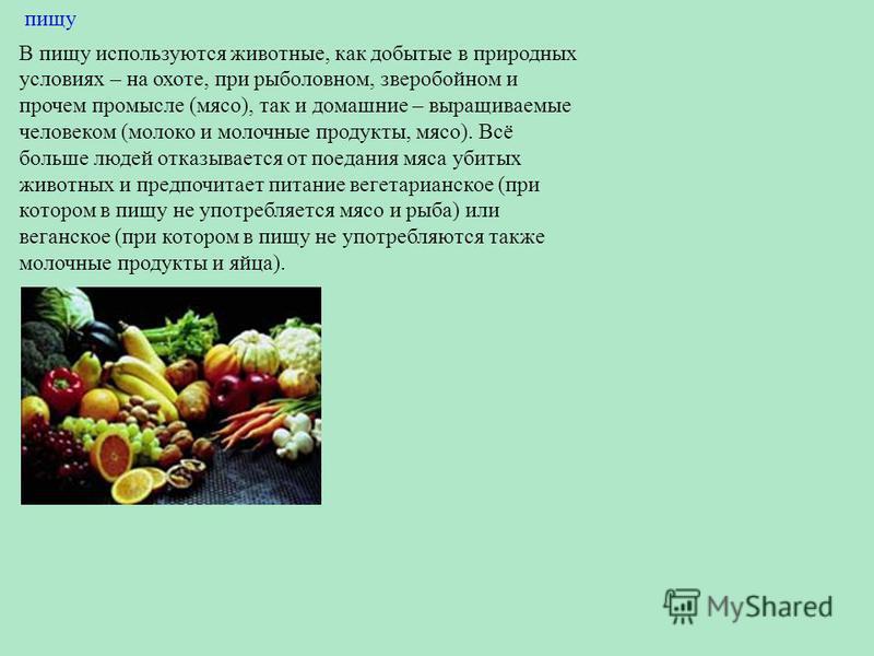 пищу В пищу используются животные, как добытые в природных условиях – на охоте, при рыболовном, зверобойном и прочем промысле (мясо), так и домашние – выращиваемые человеком (молоко и молочные продукты, мясо). Всё больше людей отказывается от поедани