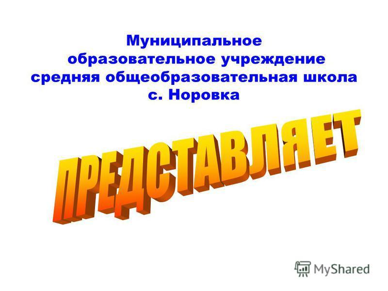 Муниципальное образовательное учреждение средняя общеобразовательная школа с. Норовка