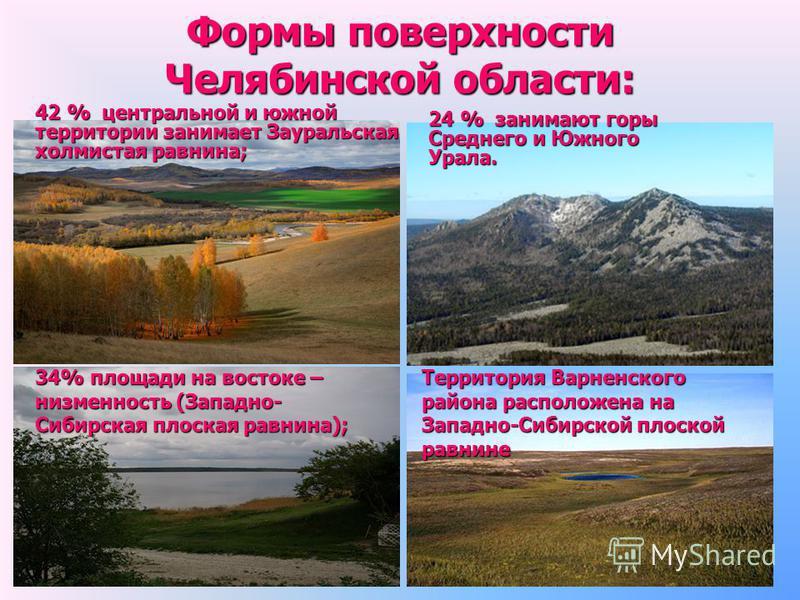 Формы поверхности Челябинской области: 34% площади на востоке – низменность (Западно- Сибирская плоская равнина); 42 % центральной и южной территории занимает Зауральская холмистая равнина; 24 % занимают горы Среднего и Южного Урала. Территория Варне