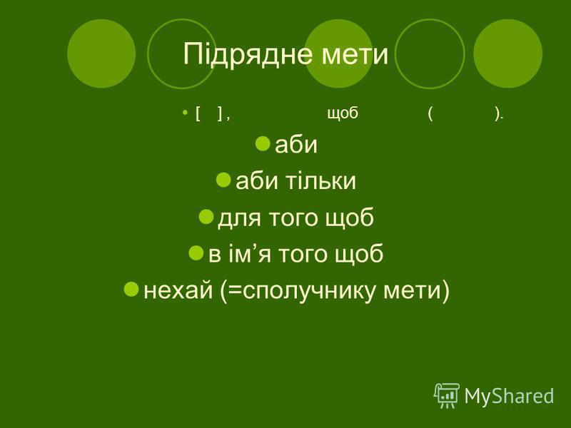 Підрядне мети [ ], щоб ( ). аби аби тільки для того щоб в імя того щоб нехай (=сполучнику мети)