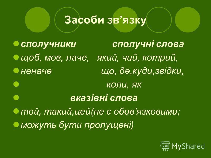 Засоби звязку сполучники сполучні слова щоб, мов, наче, який, чий, котрий, неначе що, де,куди,звідки, коли, як вказівні слова той, такий,цей(не є обовязковими; можуть бути пропущені)