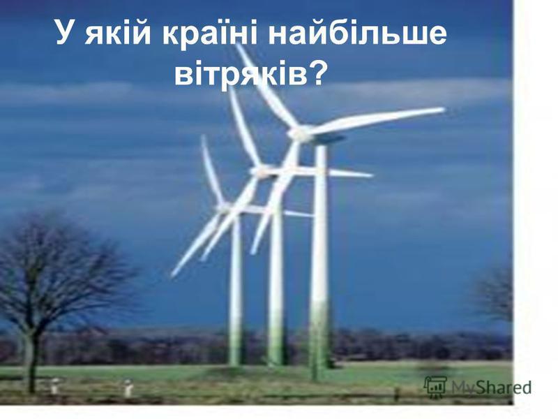 У якій країні найбільше вітряків?