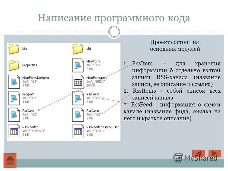 Написание программного кода Проект состоит из основных модулей 1. RssItem – для хранения информации б отдельно взятой записи RSS-канала (название записи, её описание и ссылка) 2. RssItems - собой список всех записей канала 3. RssFeed - информация о с