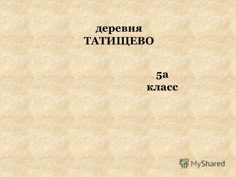деревня ТАТИЩЕВО 5а класс