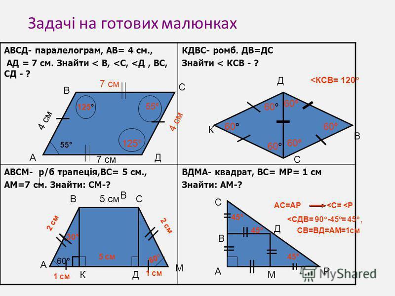 Задачі на готових малюнках АВСД- паралелограм, АВ= 4 см., АД = 7 см. Знайти < В, <С, <Д, ВС, СД - ? КДВС- ромб. ДВ=ДС Знайти < КСВ - ? АВСМ- р/б трапеція,ВС= 5 см., АМ=7 см. Знайти: СМ-? ВДМА- квадрат, ВС= МР= 1 см Знайти: АМ-? А В В С Д 55° 125° 55°