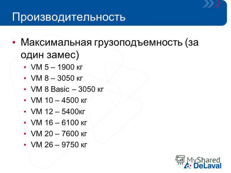 Производительность Максимальная грузоподъемность (за один замес) VM 5 – 1900 кг VM 8 – 3050 кг VM 8 Basic – 3050 кг VM 10 – 4500 кг VM 12 – 5400 кг VM 16 – 6100 кг VM 20 – 7600 кг VM 26 – 9750 кг