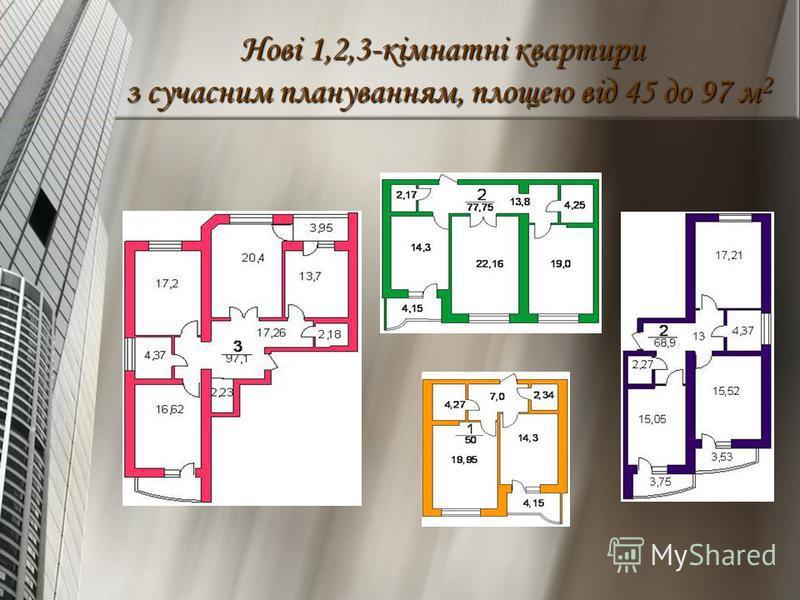 Нові 1,2,3-кімнатні квартири з сучасним плануванням, площею від 45 до 97 м 2