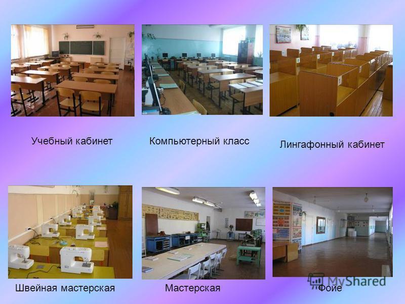 Компьютерный класс Учебный кабинет Фойе Лингафонный кабинет Мастерская Швейная мастерская