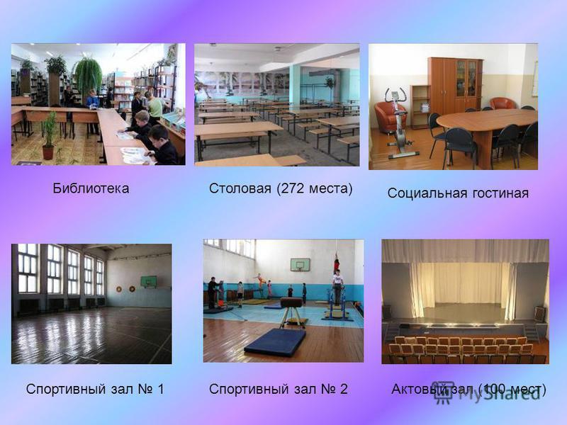 Столовая (272 места) Спортивный зал 1Актовый зал (100 мест) Библиотека Социальная гостиная Спортивный зал 2