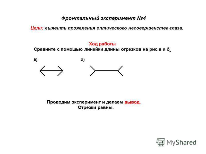Фронтальный эксперимент 4 Цели: выявить проявления оптического несовершенства глаза. Ход работы Сравните с помощью линейки длины отрезков на рис а и б Проводим эксперимент и делаем вывод. Отрезки равны. а)б)
