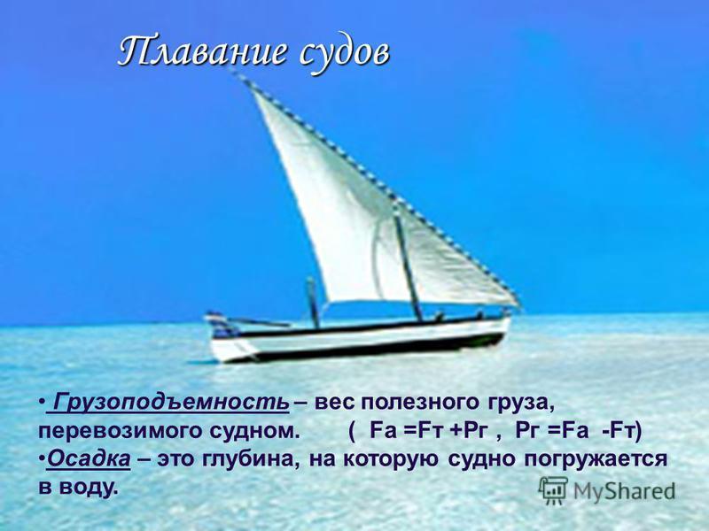 Плавание судов Грузоподъемность – вес полезного груза, перевозимого судном. ( Fa =Fт +Рг, Рг =Fа -Fт) Осадка – это глубина, на которую судно погружается в воду.